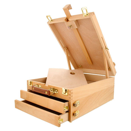 Kuyal Art Supplies Box Easel Sketchbox Painting Storage Box-Adjustable Design with Large 2-Drawer