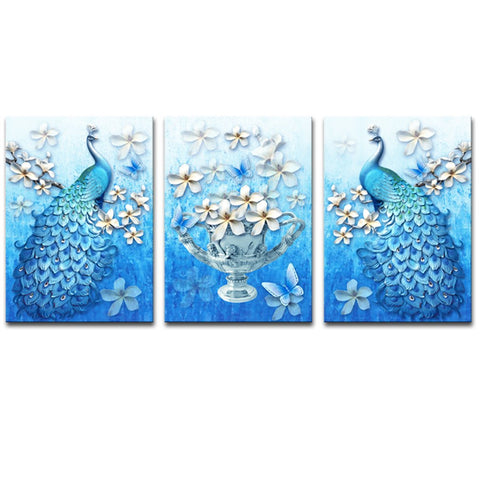 Canvas Prints Peacock Animal Canvas Wall Art Abstract Plum Blossom Carving Art Painting Vivid Color Picture Stretched Artwork for Home Office Decoration 3 Panels (50x70cmx3pcs)