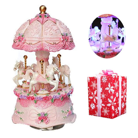 ibowoov Carousel Music Box Luxury Color Change LED Light Luminous Rotating 3-Horse Carousel Horse Music Box Melody Carrying You from Castle in The Sky (Pink)