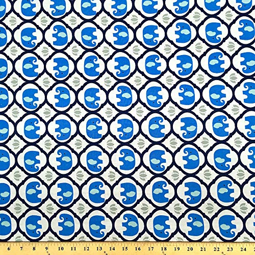 Zlephane Trellis Blue Print Fabric Cotton Polyester Broadcloth FWD