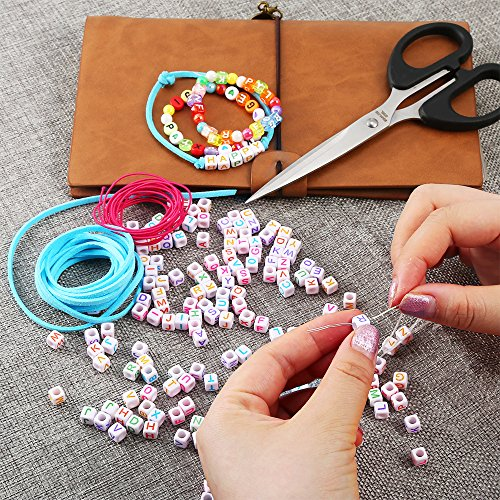 Bracelet PP OPOUNT 1200 Pieces 6 Styles Letter Beads Acrylic Alphabet A-Z Cube/ and 2 Styles Round Beads with 3 Roll Elastic String Cord and 1 Piece Beading Needles for Necklace Jewelry Making