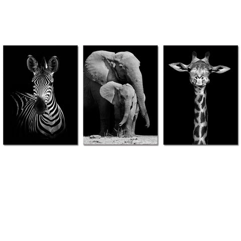 "Visual Art Decor Modern Black and White Canvas Wall Art,Animals Picture Prints,Elephant,Zebra,Giraffe Painting Printed on Canvas,Framed and Stretched,Wall Decoration (12""x16""x3 Panels, Framed)"