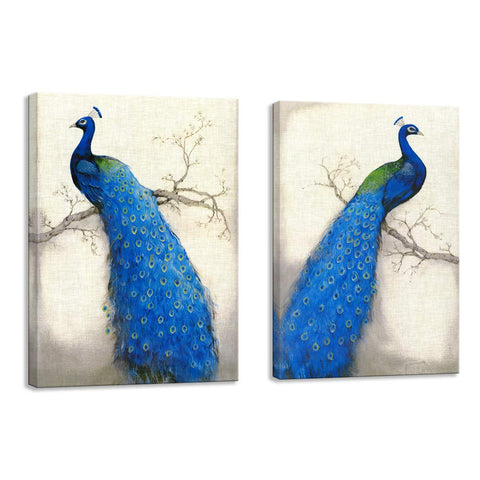 "VIIVEI Blue Peacock Birds Abstract Wall Art Print Canvas Home Decor Decals Pictures 2 Panels Poster for Bedroom Living Room Office Painting Photo Framed Ready to Hang (24""x36""x2, 10)"