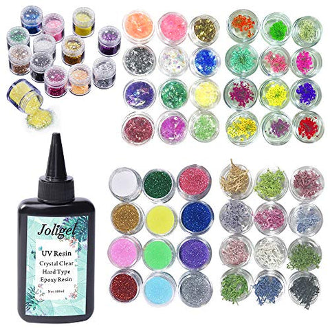 100ml UV Epoxy Resin Crystal Clear Transparent + 60 Decorations Including Glitter, Sequin, Dried Flowers, Coral Flowers & Colorful glassine