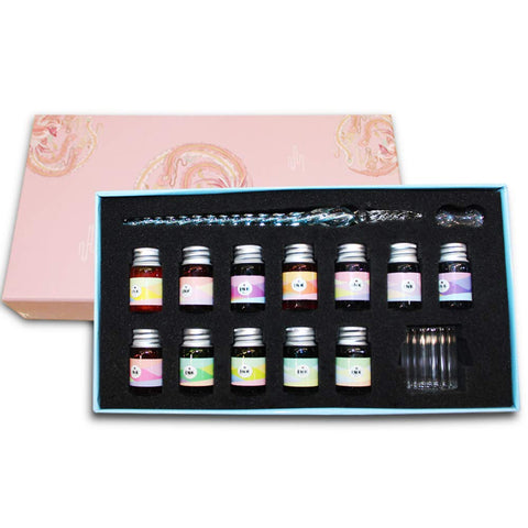 Crystal Glass Dip Pen Ink Set-Dip Pen with 12 Color Ink Bottles for Art, Writing, Drawing, Calligraphy, Great for Gift Giving.