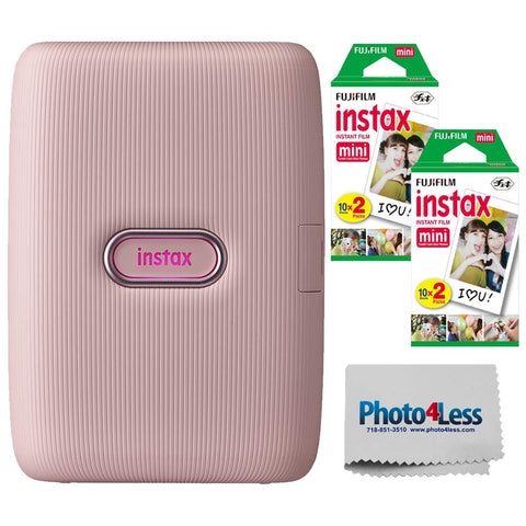 Fujifilm Instax Mini Link Smartphone Printer (Dusky Pink) + Fuji Instax Mini Film (40 Sheets) - Instax Mini Printer Bundle