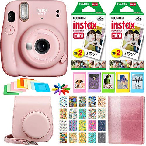 Fujifilm Instax Mini 11 Instant Camera - Blush Pink (16654774) + 2X Fujifilm Instax Mini Twin Pack Instant Film (40 Sheets) + Protective Case + Photo Album Instax Mini 11 Accessory Gift Bundle