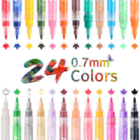 Acrylic Paint Pens 24 Colors 0.7mm Painting Marker DIY Craft Making Supplies Used for Permanent Marking of Rock Ceramic Glass Plastic Wood Fabric Canvas Mug