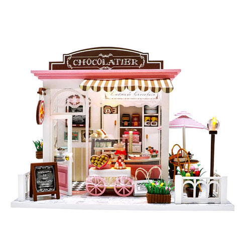 Miniature Dollhouse Kit DIY Dollhouse Wooden Miniature Furniture Kit Mini Pink Chocolate Store with LED Light Sweet Birthday for Women and Girls 1:24 Scale with Tools and Dust Cover