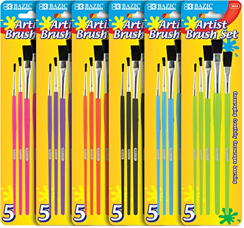 Bazic Assorted Size Paint Brush Set - 5/Pack Case Pack 144 Computers, Electronics, Office Supplies,