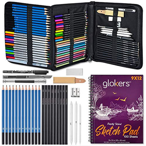 Glokers 72-Piece Arts Supplies and Drawing Kit Set - Complete Set of Art Pencils: Graphite, Colored, Metallic, Charcoal, Watercolor - Also Includes 9x12 Sketch Book, Stumps, Sharpener, Eraser & More