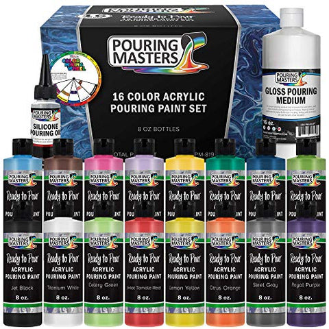 Pouring Masters 16-Color Ready to Pour Acrylic Pouring Paint Set with Silicone Oil & Gloss Medium - Premium Pre-Mixed High Flow 8-Ounce Bottles - for Canvas, Wood, Paper, Crafts, Tile