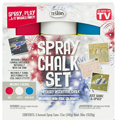 Testors 333618 Spray Chalk, 12 oz Kit, Patriotic