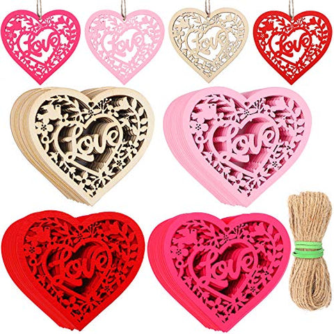 Motarto 60 Pieces Heart Wood Slice Colorful Hollow Out Wooden Discs Love Heart Wooden Tags for Wedding Decors Valentine's Day Ornaments