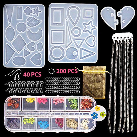SnailGarden 4Pack Resin Molds, with 1 Box of Dried Flowers,29 Style Resin Jewelry Silicone Casting Molds+200Pcs Jump Rings+40Pcs Earring Hooks+6Pcs Necklace Chain for DIY Jewelry Craft Making