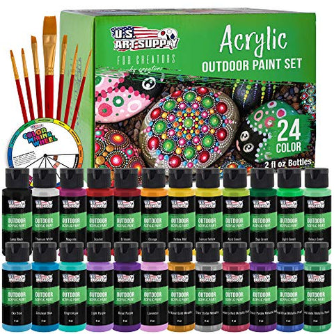 U.S. Art Supply Professional 24 Color Set of Outdoor Acrylic Paint in 2 Ounce Bottles, Plus a 7-Piece Brush Kit - Vivid Colors for Artists, Students - Use on Canvas, Rocks, Kids' Wood Crafts, and Toys