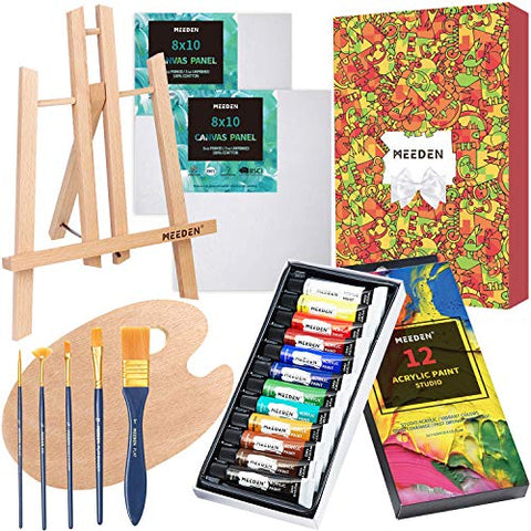 MEEDEN 21-Piece Acrylic Painting Set with Tabletop Wood Easels, 12×12MLAcrylic Paints, 2 Canvas Panels & Accessories, Art Painting Kit for Beginners, Students & Little Artist