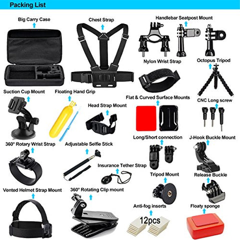 Soft Digits Accessories Kit for GoPro Hero 6 5 4 3+ Session Accessory Bundle Set for Action