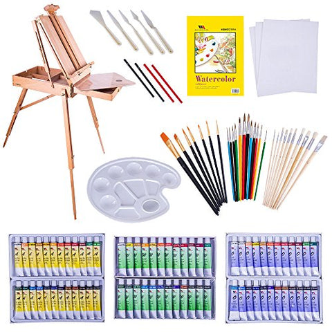 WA Portman Professional Painting and Art Supplies |121-pc Artist Paint Tools Set - Field Easel with Storage | Canvases and Pad | Acrylic Oil Watercolor Paint Sets | Brush Sets and More