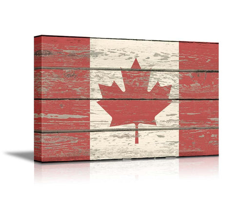 "wall26 - Canvas Prints Wall Art - Flag of Canada on Vintage Wood Board Background Stretched Canvas Wrap. Ready to Hang - 24"" x 36"""