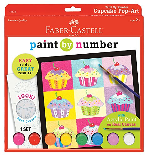 Faber-Castell Paint by Number Cupcake Pop-Art - Complete Paint by Number Kit for Kids