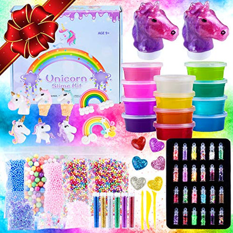 Unicorn Slime Kit for Girls Boys, 60 PCS Slime Set, Slime for Girls Boys with unicorn charms, rainbows, hearts, glitter slime, foam beads, confetti. Ultimate Slime Making Kit. Slime Kits.