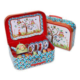 Woodland Animals Kids Tin Tea Set & Carry Case (14 piece Tea Set for Kids) Slimy Toad