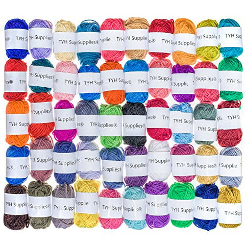 TYH Supplies 50 Skeins Acrylic Yarn Assorted Colors - Perfect for Mini Knitting and Crochet Project