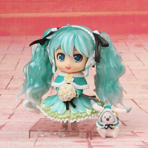 Lupovin 10cm Anime Vocaloid Hatsune Miku Nendoroid 047# Snow Miku Ver PVC Action Figure Model Collection Mini Small Brinquedos Doll