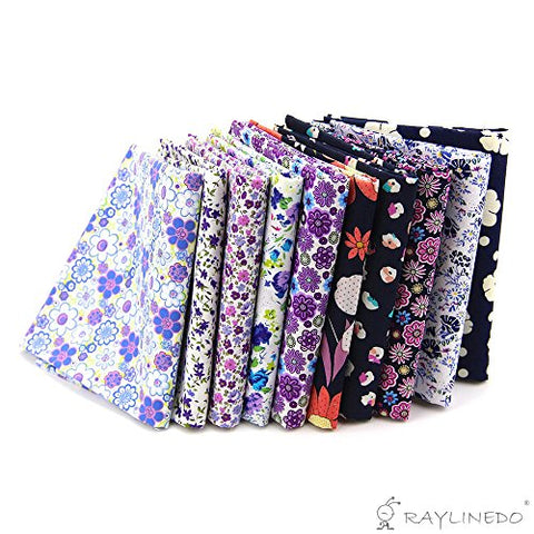"RayLineDo 10 Pcs Different Pattern Multi Color 100% Cotton Poplin Fabric Fat Quarter Bundle 18"" x 22"" Patchwork Quilting Fabric Purple and Navy Series"
