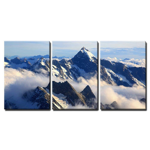 "wall26 - 3 Piece Canvas Wall Art - Landscape of Mountain Cook Peak with Mist from Helicopter, New Zealand - Modern Home Decor Stretched and Framed Ready to Hang - 24""x36""x3 Panels"