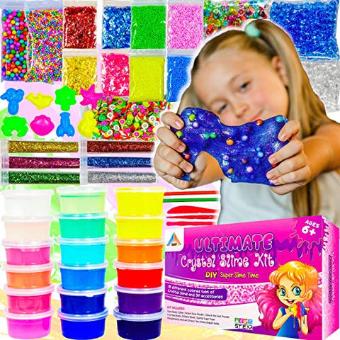 OzBSP Crystal Slime Kit. Slime Supplies. DIY Slime Making Kit for Girls Boys Kids. 18 Tubs Crystal Slime, 37 Accessories, Glitter, Snow Powder, Foam Beads, Fruit Slices, Fishbowl Beads. Boy Girl Toys