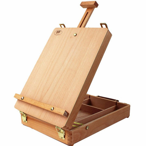 Art Supplies Box Easel Sketchbox Painting Storage Box, Adjust Wood Tabletop Easel for Drawing & Sketching Student