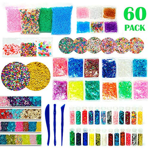 RockTown Toys Slime Supplies Kit Stuff - 60 PCS Foam Beads & Balls, Glitter, Fruit Slices, | Add Ins for Slime & Floam | Supply Kit for Slime Parties | Fun & Educational for Boys & Girls