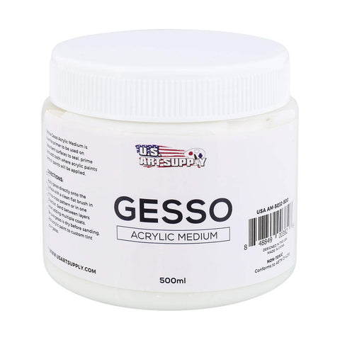U.S. Art Supply White Gesso Acrylic Medium, 500ml Tub - 16.9 Ounces Over a Pint