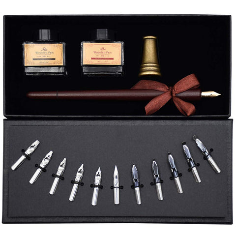 AIVN Calligraphy Set - 17 Pieces. Includes Calligraphy Pens, 2 Bottle Inks, 12 Nibs, Pen Holder and Introduction Booklet