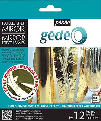 GEDEO GOLD COLOURED MIRROR EFFECT METAL LEAF 12 LEAVES DECORATION GILDING PEBEO by Pebeo
