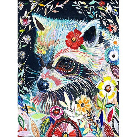 DIY 5D Diamond Painting by Number Kits, Painting Cross Stitch Full Drill Crystal Rhinestone Embroidery Pictures Arts Craft for Home Wall Decor Gift Coloured Fox Flower (J4655-11.8X15.7in)