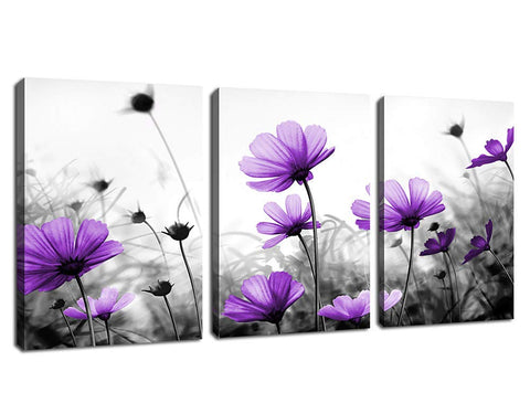 "Flowers Wall Art Canvas Pictures Purple Wildflowers Black and White Background 3 Piece Canvas Art Blossom Contemporary Artwork for Home Decoration Office Kitchen Wall Decor 12""x 16"" x 3 Panels"