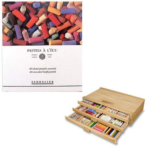 Sennelier Artist Pastel Set - Extra Soft Half Stick Pastels with High Vibrancy & Brightness w/ 3 Drawer Wood Storage Box - Assorted Colors - Set of 40