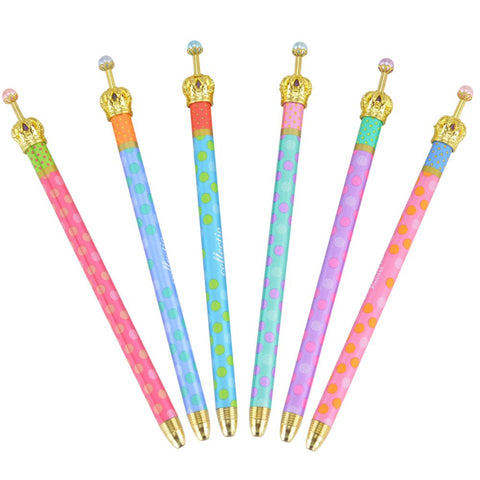 MOACC Set of 6 Princess Crown Premium Gel Ink Pen Lovely Cute Colorful Polka Dots Korean Style Rollerball Roller Ball Pen Fine Point Creative Stationery for Artist School Office Family Use, Black Ink