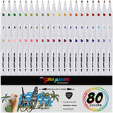 80 Color Super Markers Primary & Secondary Tones Dual Tip Set - Double-Ended Permanent Art