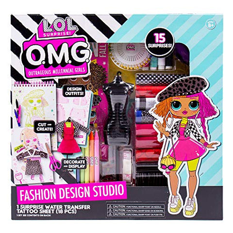 LOL OMG Fashion Studio by Horizon Group USA,DIY Fashion Designing Kit.Cut & Create Your Own Outfits.Sketch Designs,Trace & Sew.Includes Fabric,Thread,Crayons,Markers,Instructions,Surprises & More