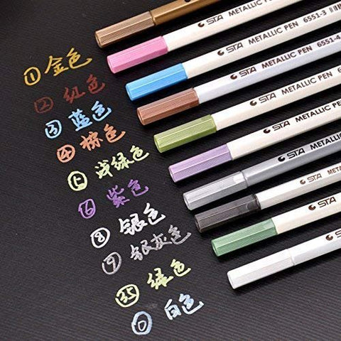 10pcs/lot STA 6551BR Metallic Art Marker Brush Pens 10 Colors Soft Brush Pint Glitter