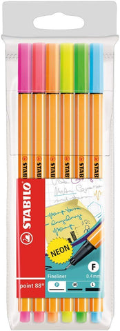 Fineliner - STABILO Point 88 Wallet of 6 Neon Colours