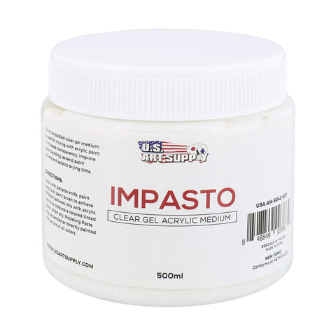 U.S. Art Supply Impasto Clear Gel Acrylic Medium, 500ml Tub