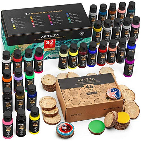 ARTEZA Pouring Bundle: Acrylic Paint Set for Pouring and Wood Slices