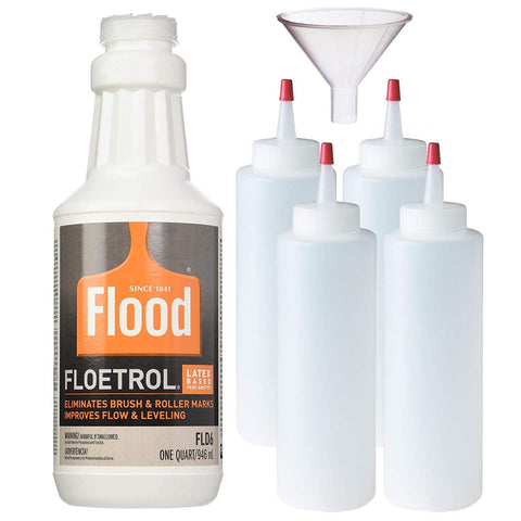 1 Quart Flood Floetrol Additive, 4X 8-Ounce Squeeze Bottles, 1 Pixiss 2.5-Inch Funnel