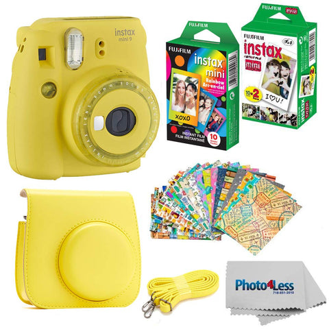 Fujifilm Instax Mini 9 Instant Film Camera - Fujifilm Instax Mini Instant Film, Twin Pack - Fujifilm Instax Mini Rainbow Film - Case for Fuji Mini Camera - Fuji Instax Accessory Bundle (Yellow)