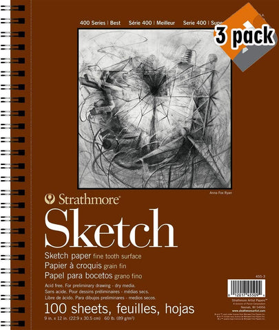 "Strathmore 400 Series Sketch Pad, 9""x12"" Wire Bound, 100 Sheets - 3 Pack"